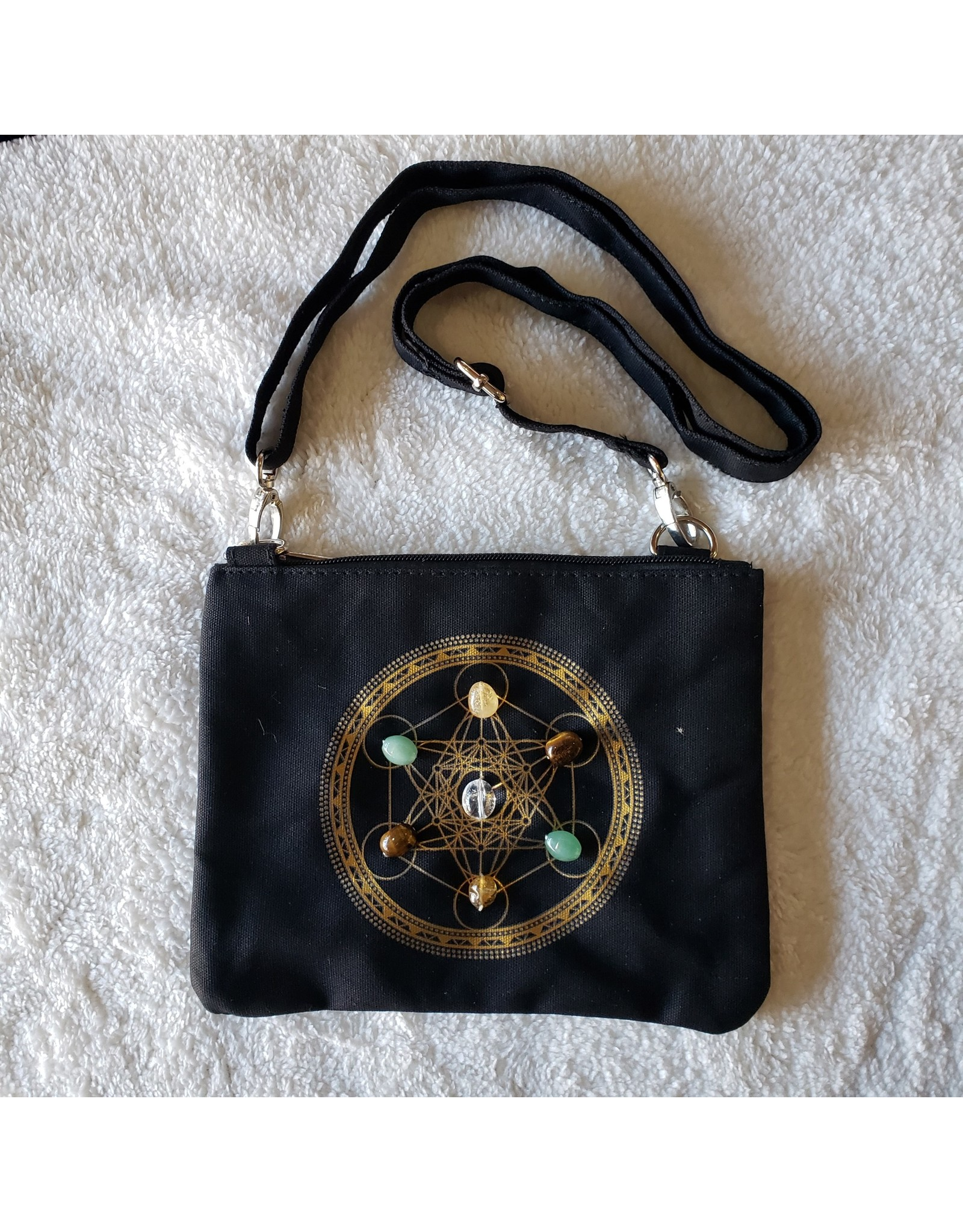 Sacred Geometry Wealth & Prosperity Crystal Grid Cross Body Bag