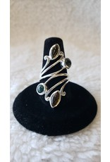Assorted Tourmaline Sterling Silver Statement Ring - Size 6