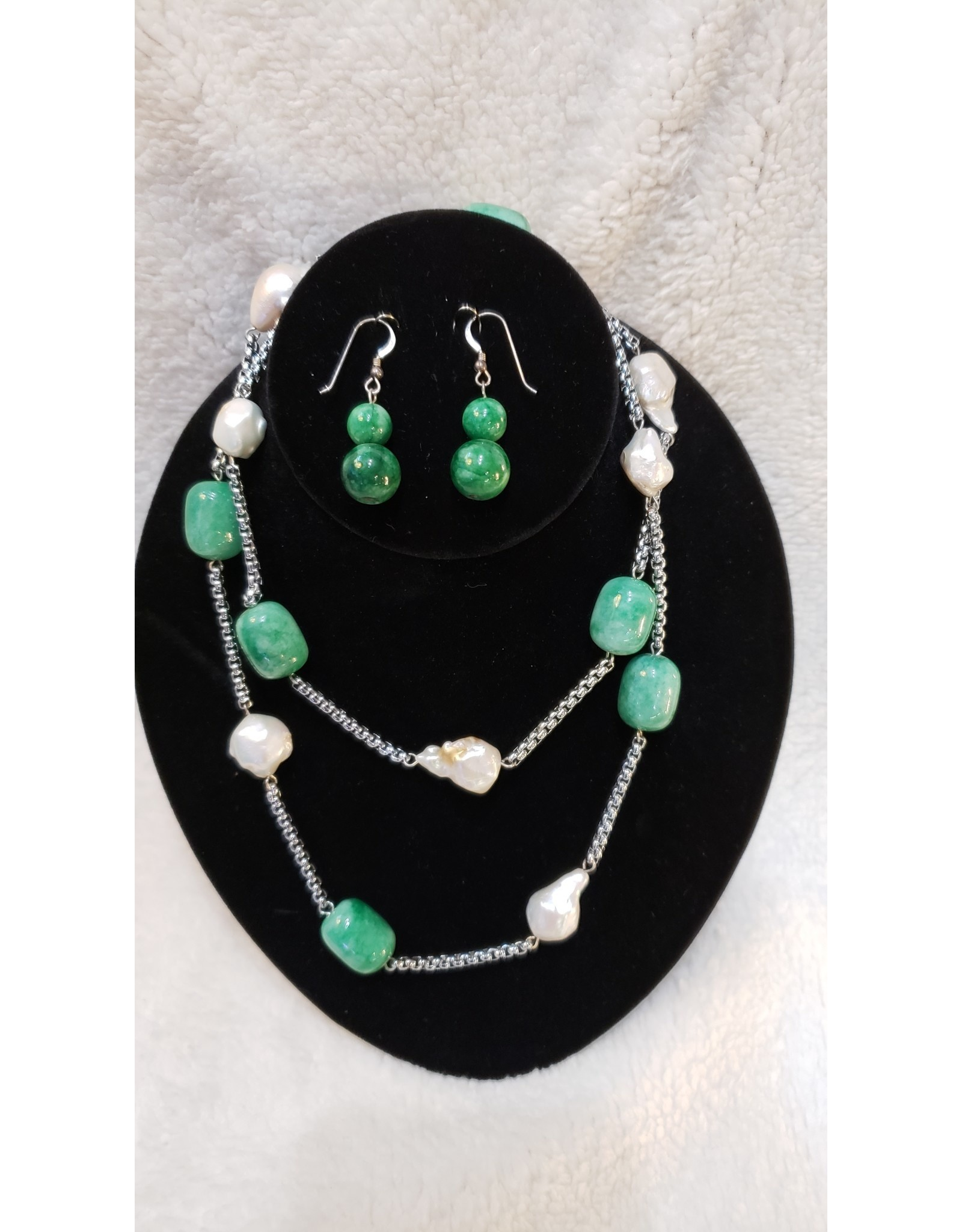 Pearl & Green Stone Necklace & Earring Set