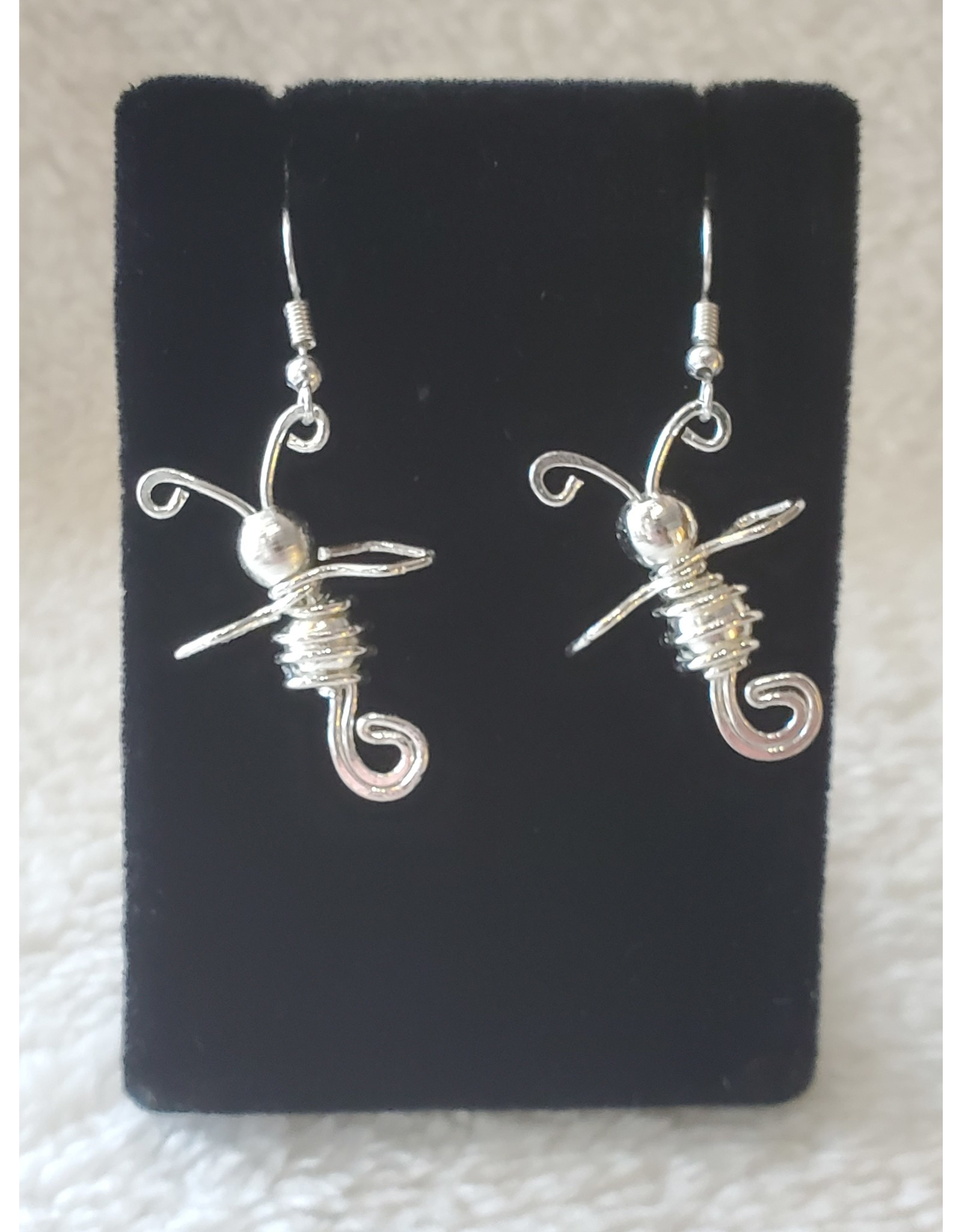 Silver Plated Bee Coil Earrings