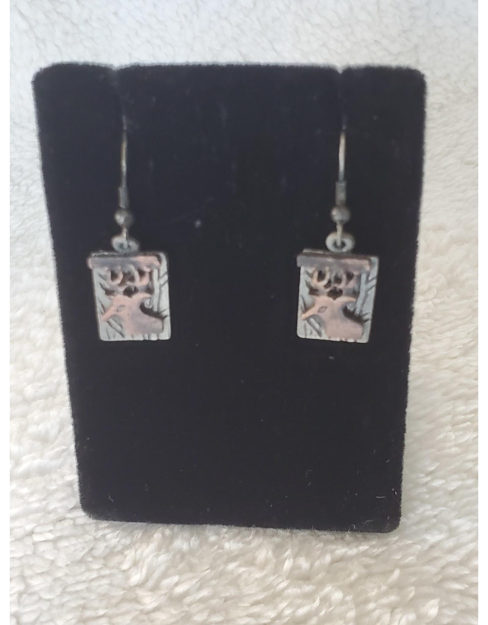 Elk Head Pewter Earrings