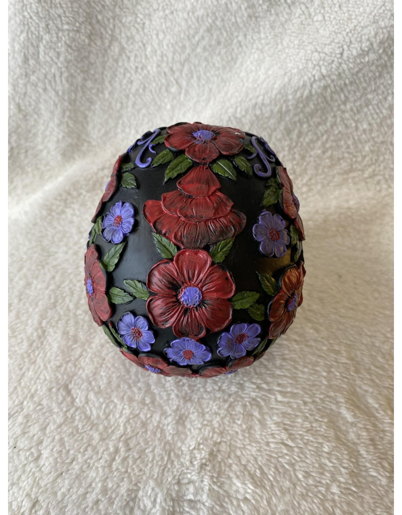 Floral Skull | Black w/ Red & Purple Flowers