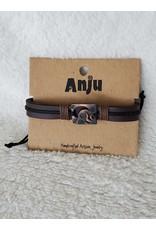Pewter Adjustable Leather Bracelet - Sun & Moon