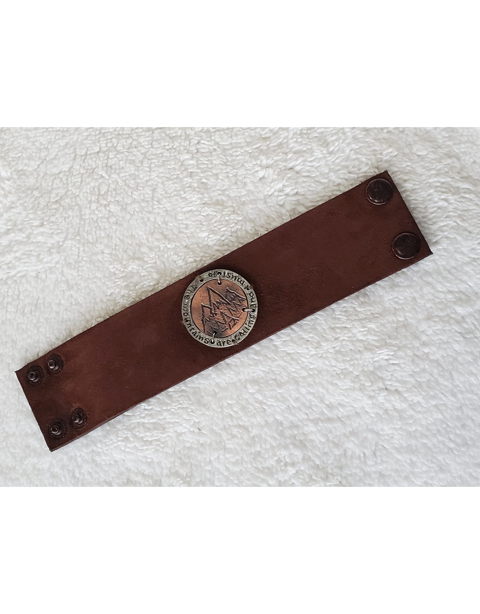 Leather Snap Bracelet - The Mountains Are Calling