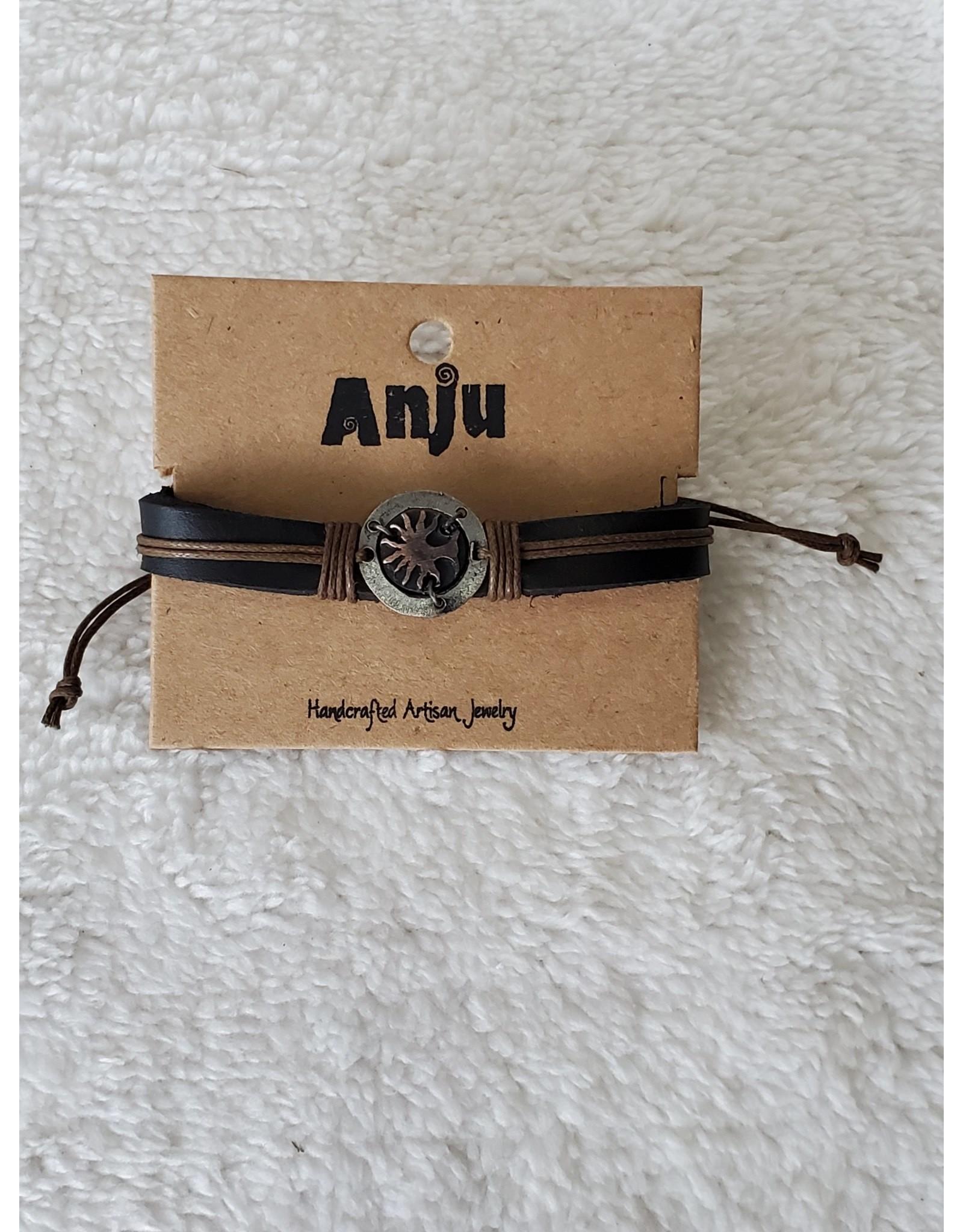 Pewter Adjustable Leather Bracelet - tree of Life