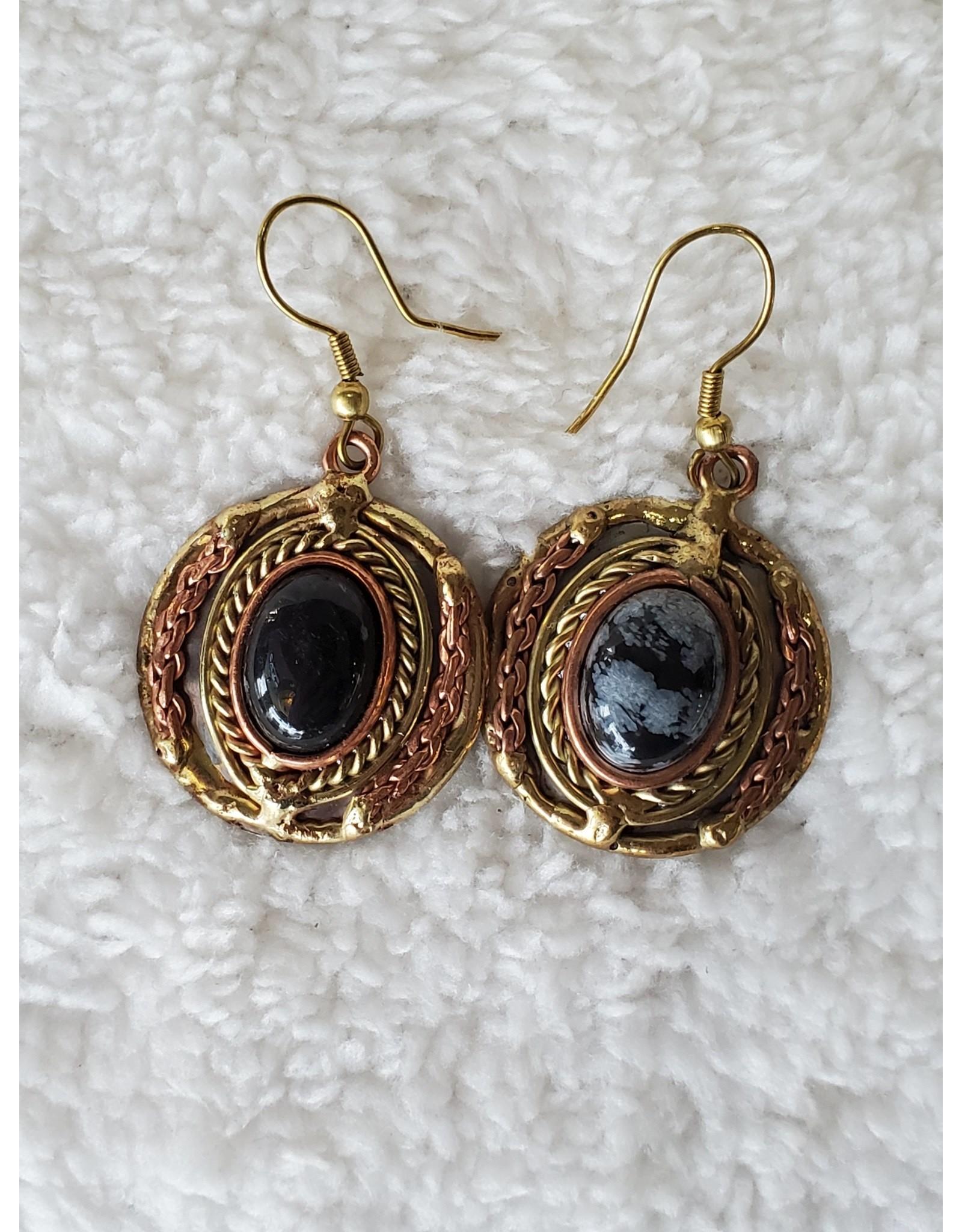 Mixed Metal & Snowflake Obsidian Earrings