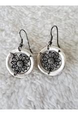 Pewter Earrings - Sunflower in Circle