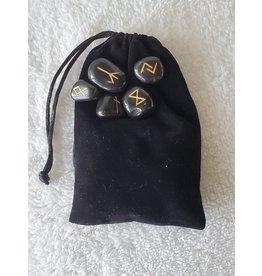 Black Agate Runes w/ Cloth Pouch
