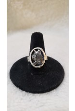 Authentic Meteorite Oval Silver Ring - Adjustable