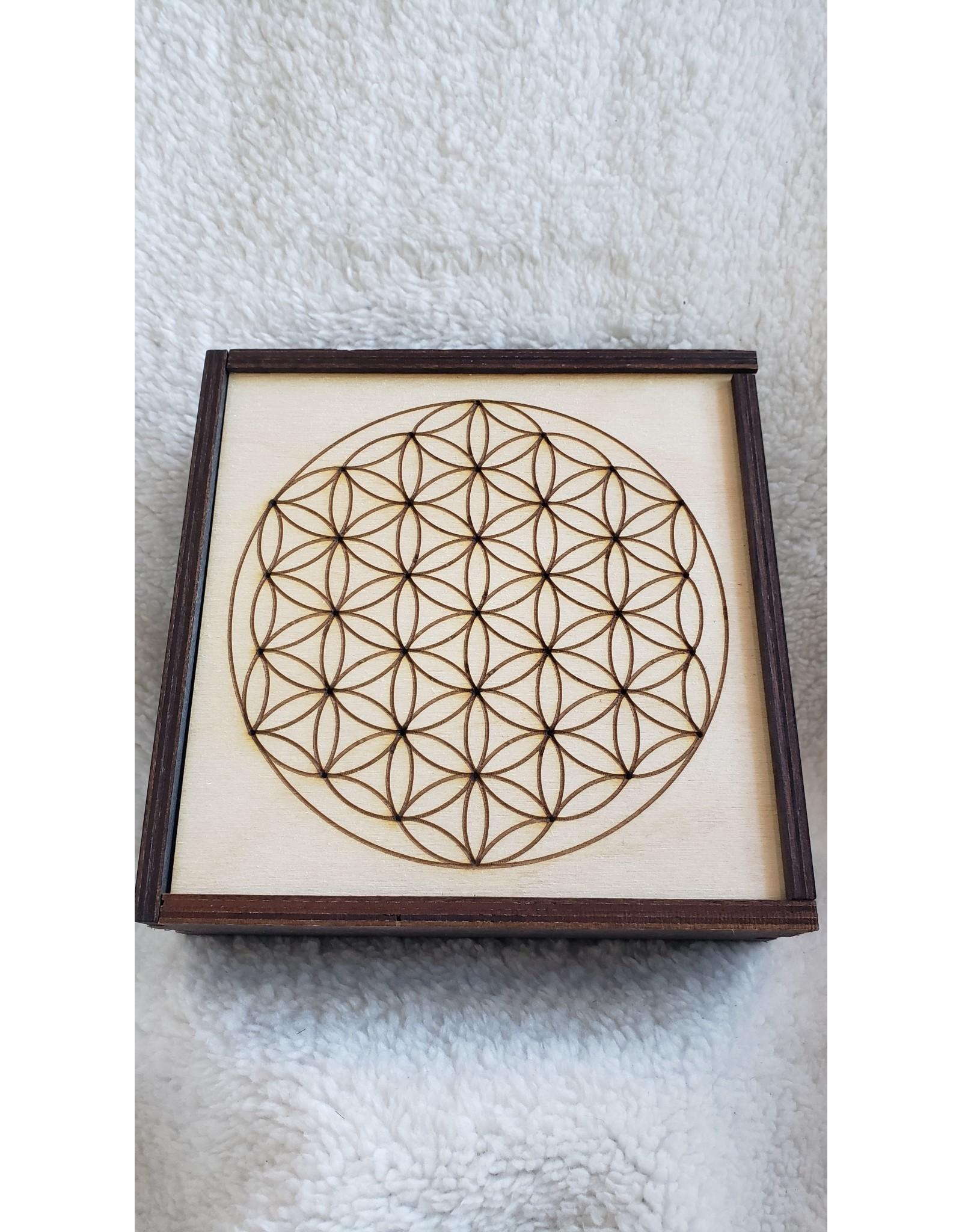 "Flower of Life Crystal Grid Box | 6"" x 6"""