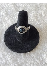 Angel Vaughan Wire Wrapped Obsidian Protection Ring Sz 7