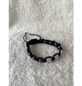 8mm Threaded Bracelet - Rose Quartz & Hematite
