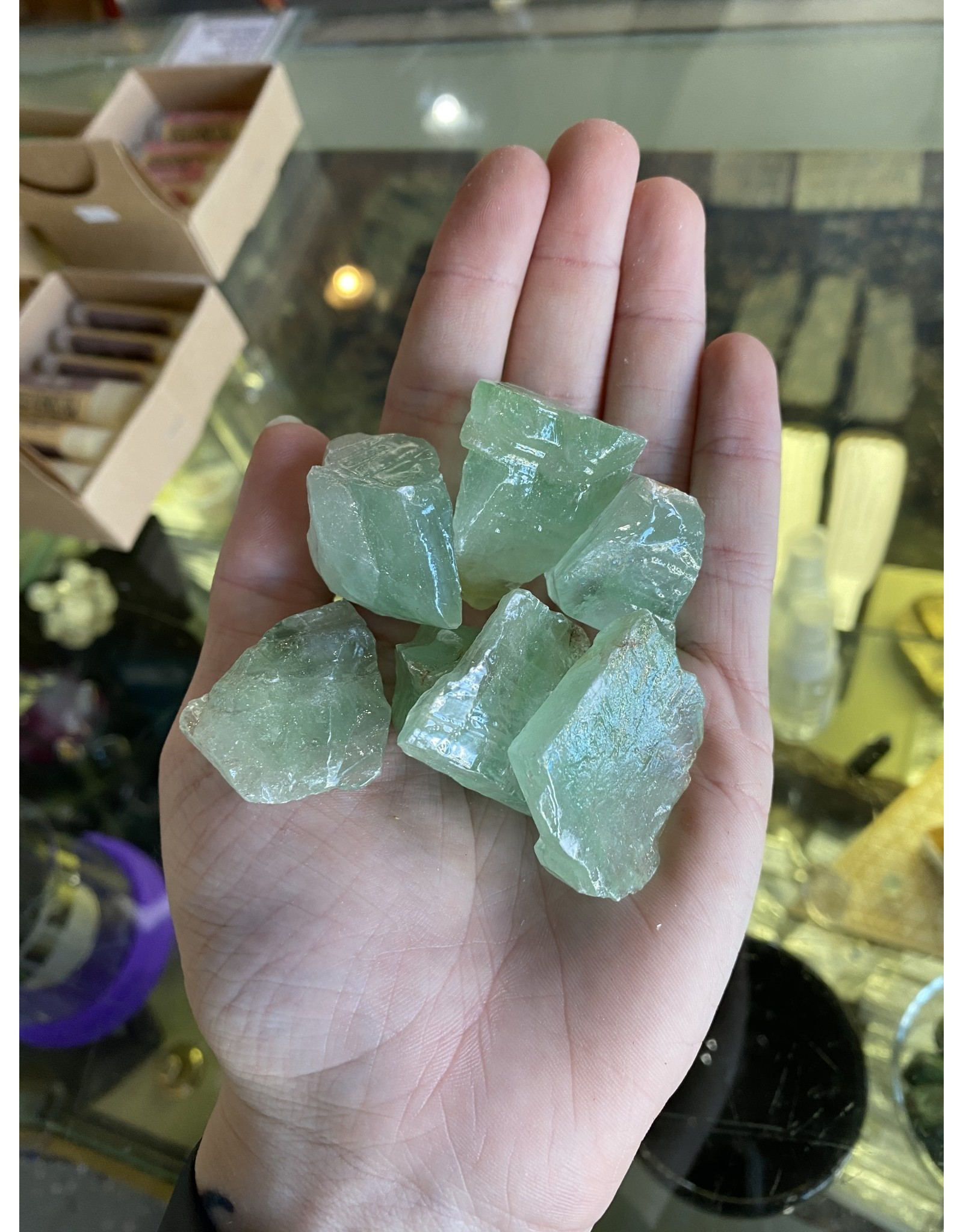 Smooth Green Calcite Chunks | Large