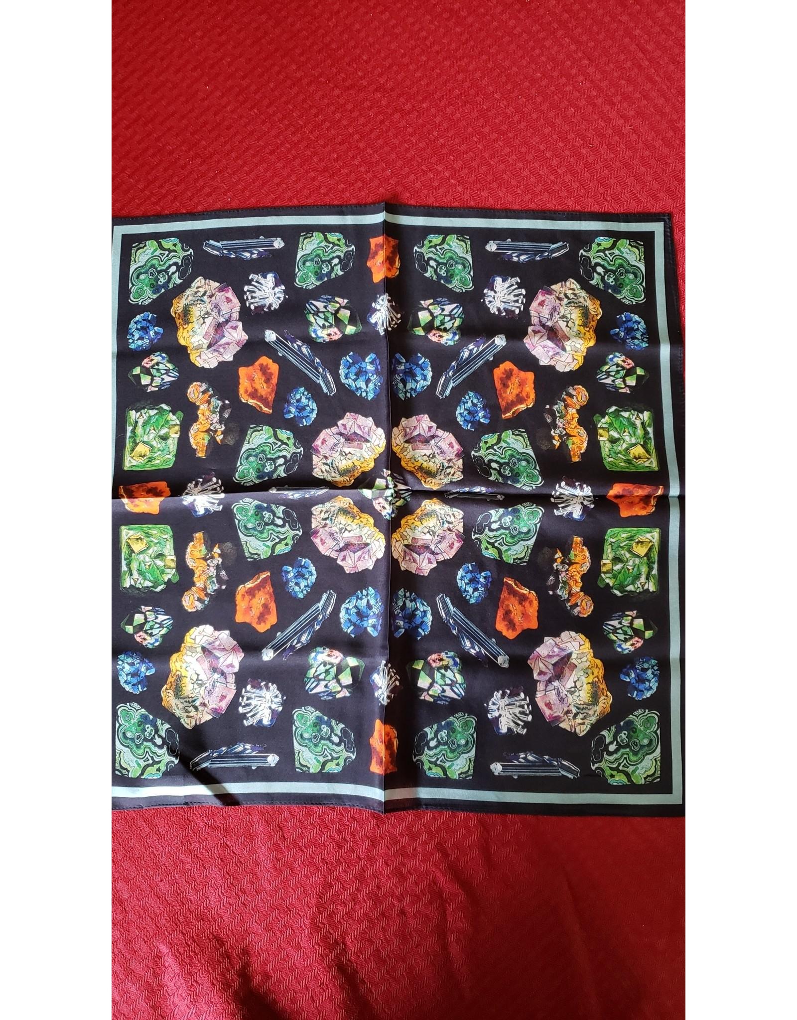"100% Silk Scarf 17""x17"" | Gems & Minerals Bandana"