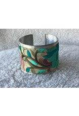 Turquoise Flower Embroidered Cuff