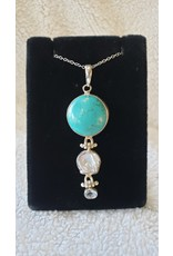 Turquoise, Mother of Pearl & Blue Topaz Pendant
