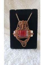 Copper Wire Wrapped Glass Cab Necklace