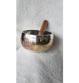 """Silver & Gold Singing Bowl   Machined   5.5"""""""