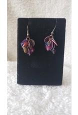 Purple Bead Dangly Earrings