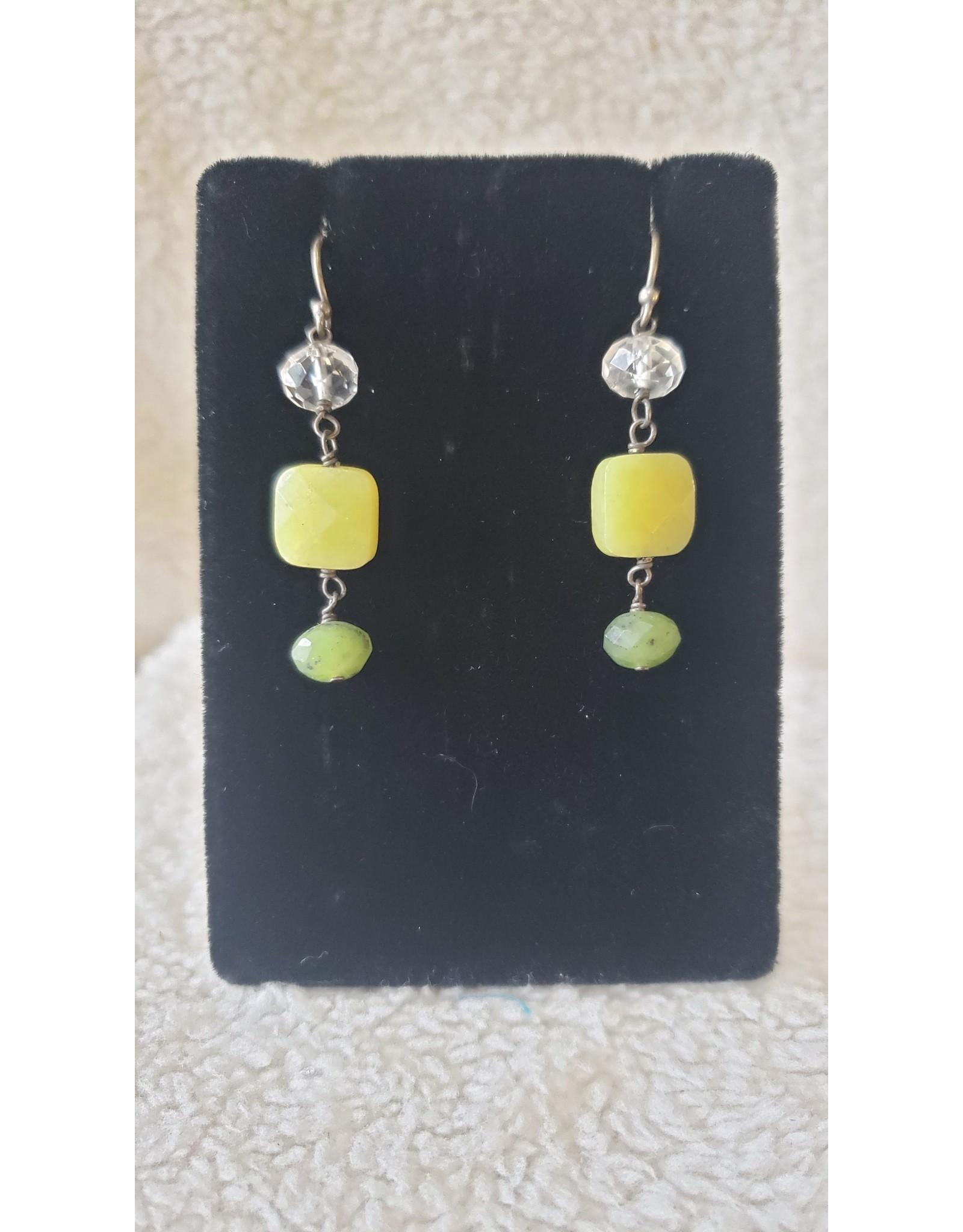 Green Bead Dangly Earrings