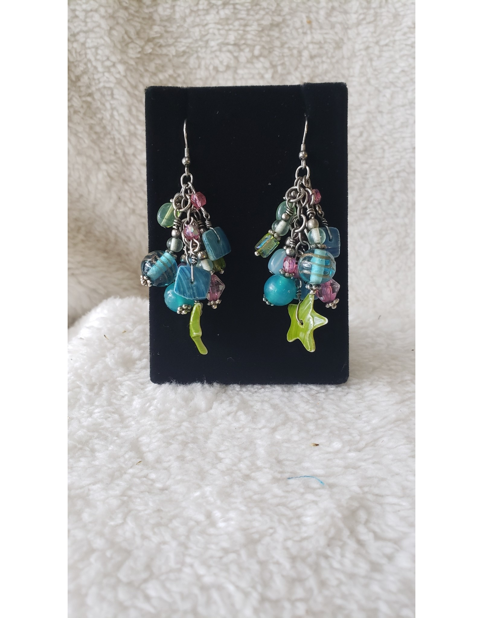 Assorted Green & Blue Bead Earrings