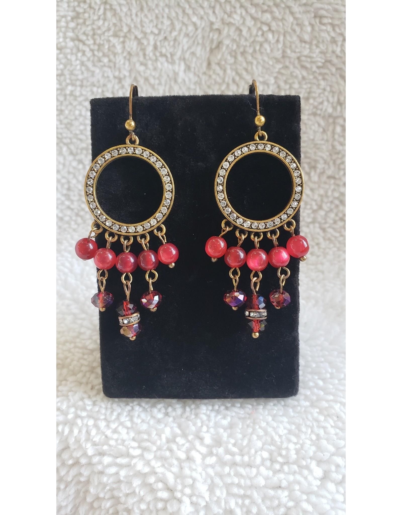 Red Bead & Crystal Dangle Earrings