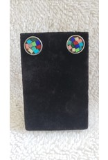 Multi - Colored Glass Round Studs