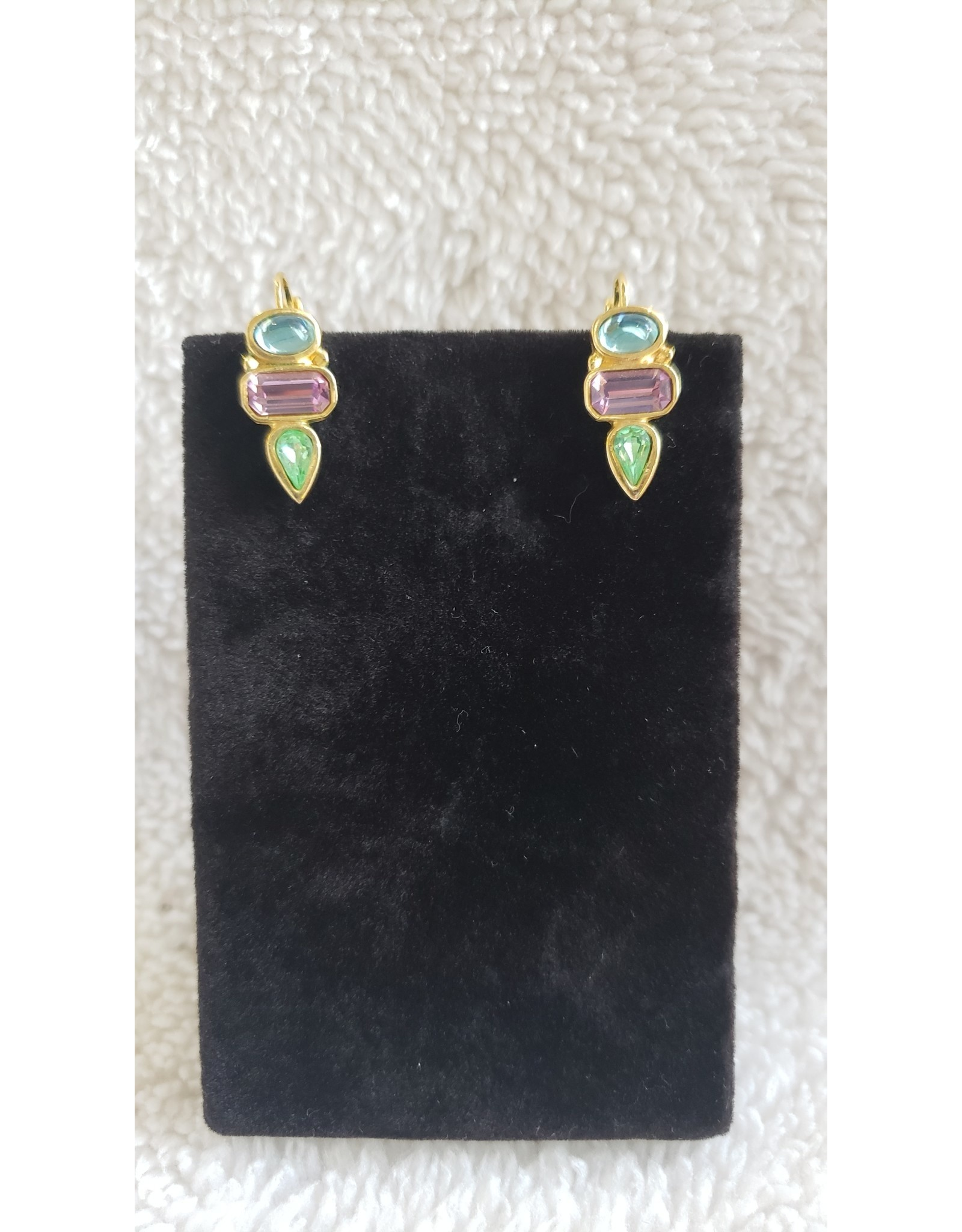 Gold Plated Multi Stone Earrings