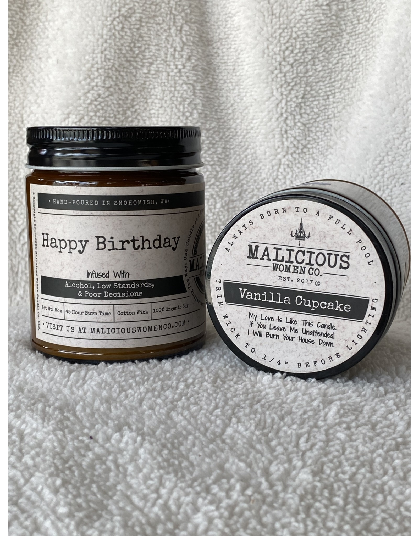 """Malicious Woman Candle Co. Happy Birthday 