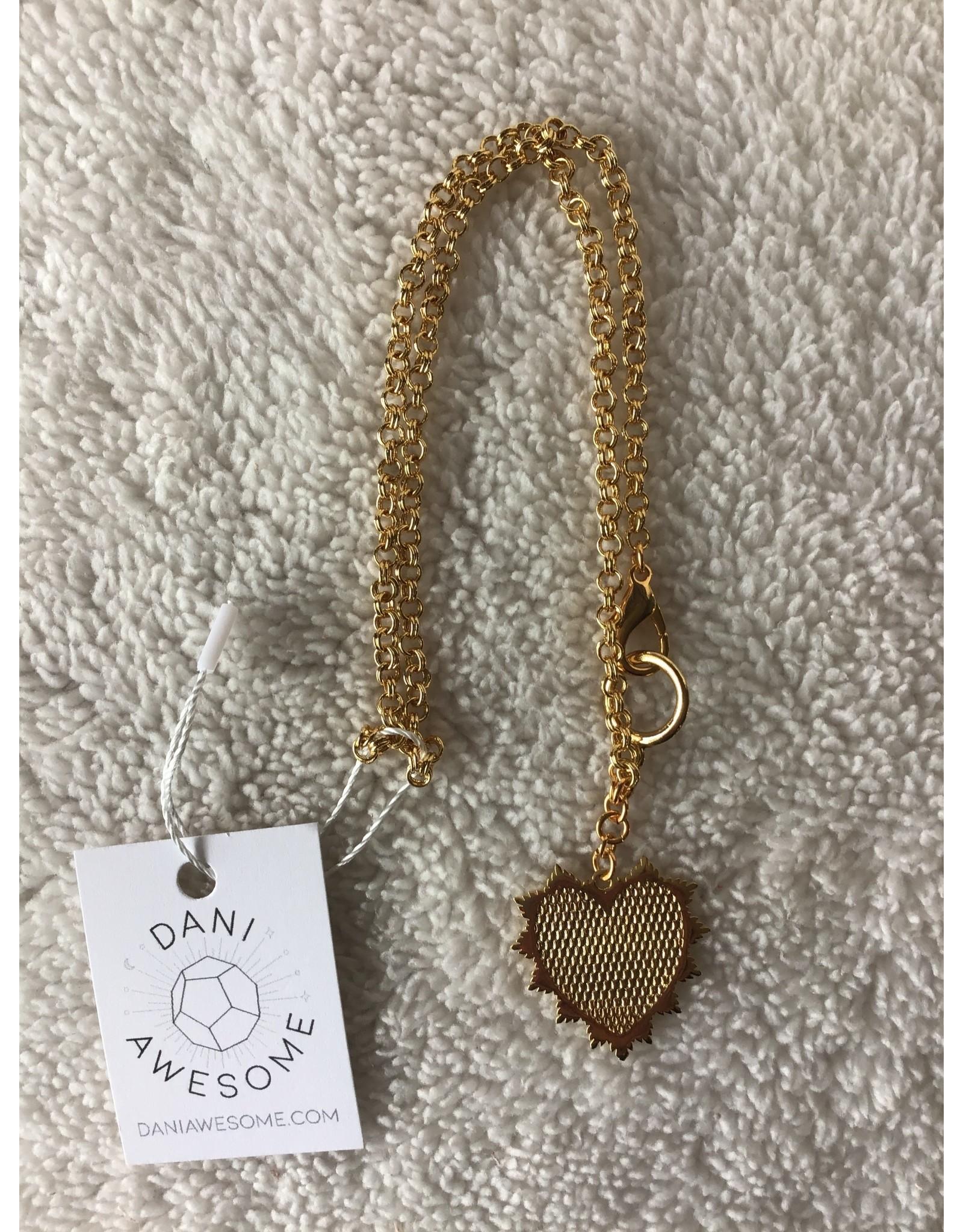 Divine Radiant Heart Medallion Necklace   Gold