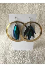 Brilliant Beetle Wing Hooper Earrings