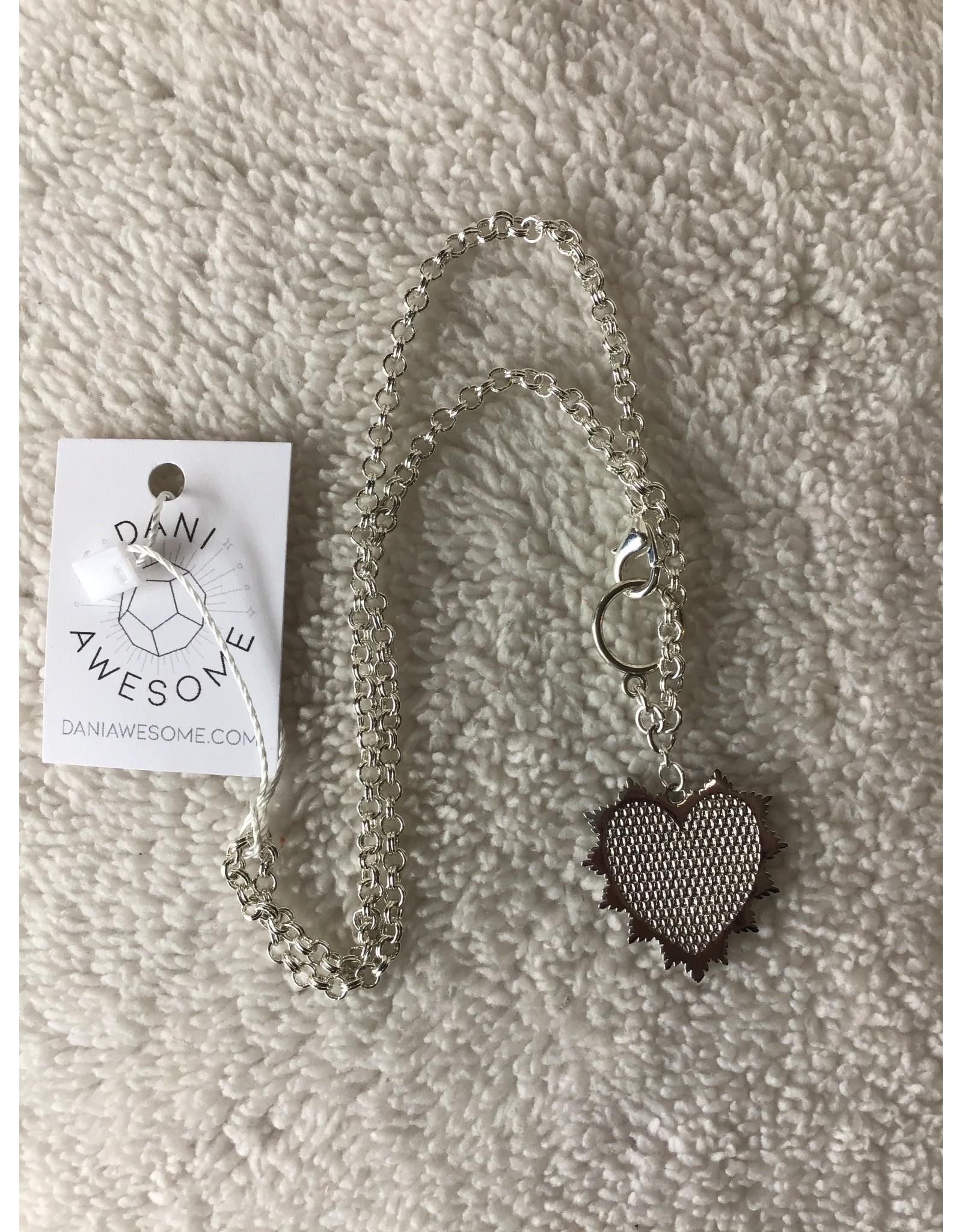 Divine Radiant Heart Medallion Necklace | Silver