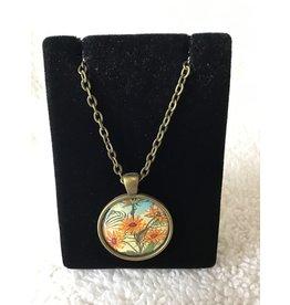 Unique Art Pendants Daises Brass Pendant Necklace