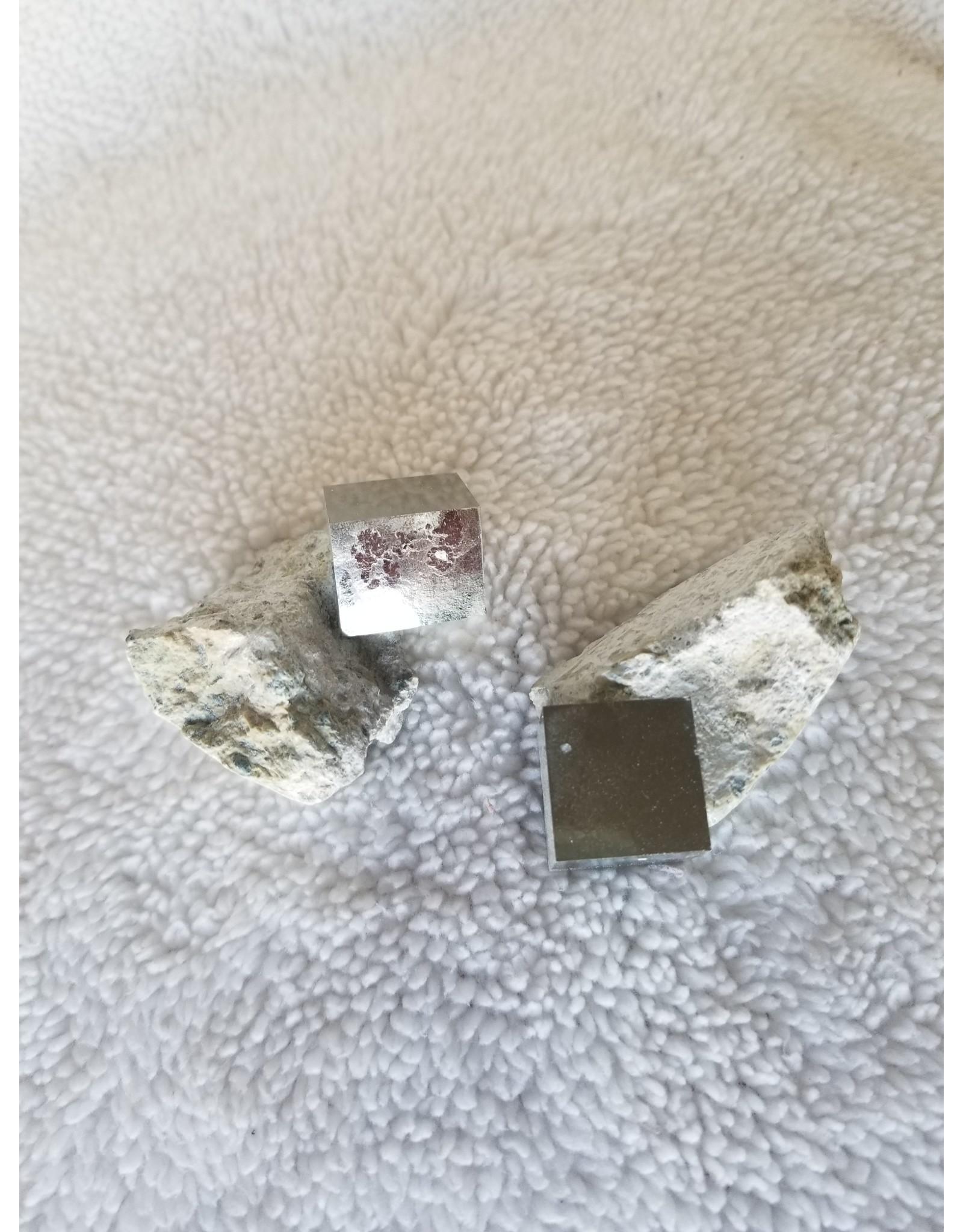 Pyrite Cube in Limestone Matrix
