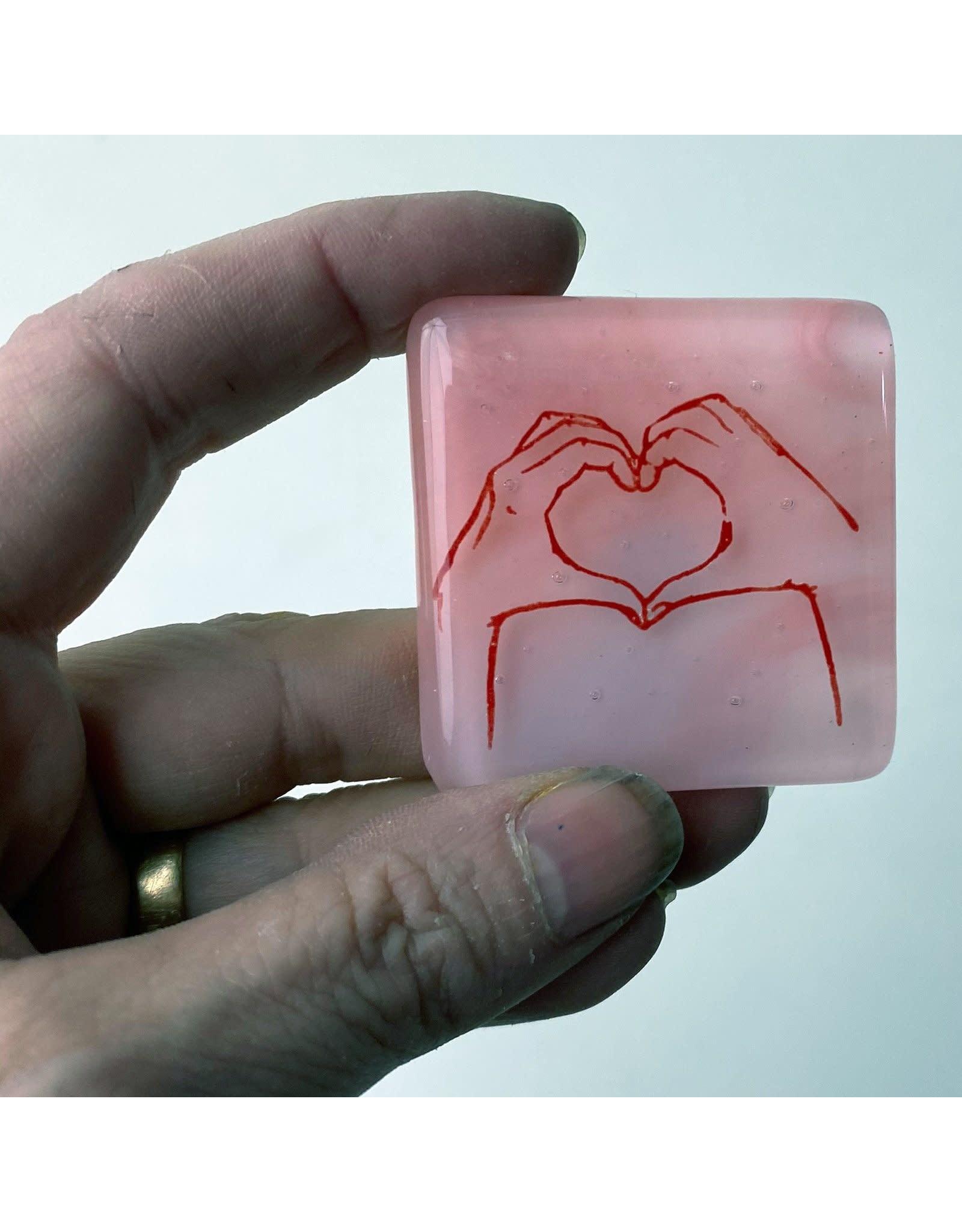 Kiku Handmade Hearthands Fused Glass Magnet