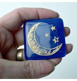 Kiku Handmade Half Moon Fused Glass Magnet