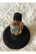 Mixed Metal & Labradorite Ring   Adjustable