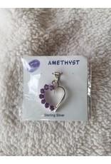 Multi Amethyst Heart Pendant