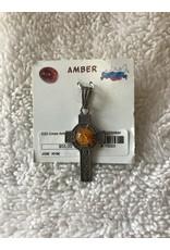 Amber Centered Celtic Cross Silver
