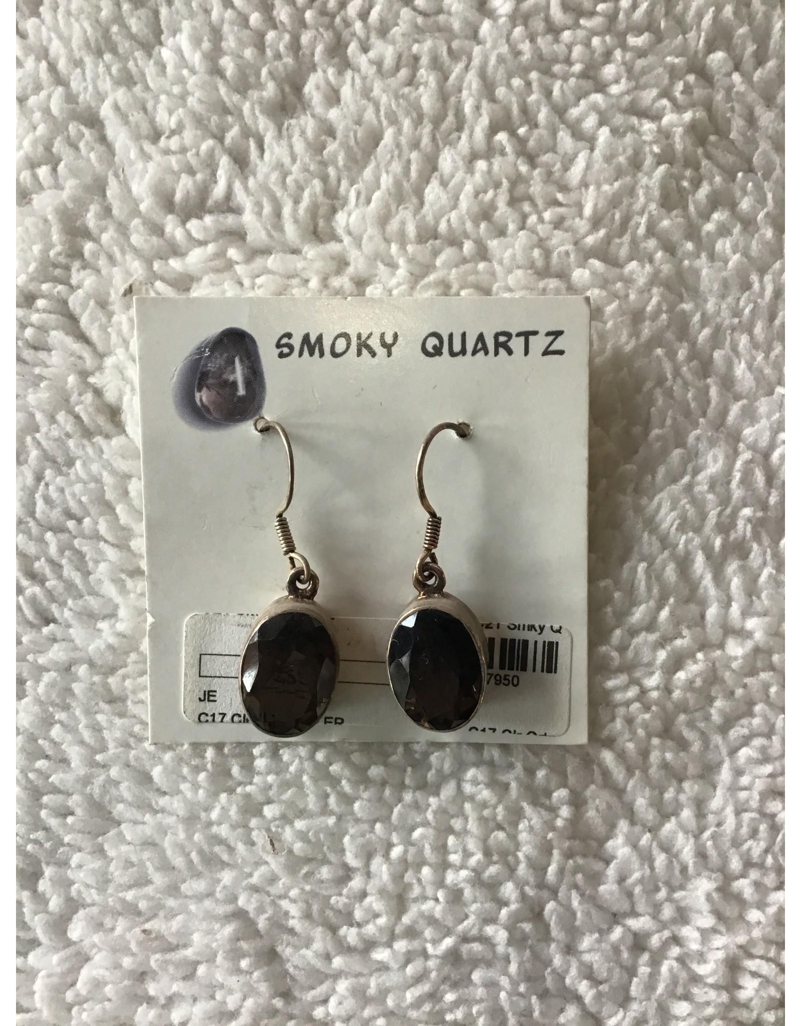 Smoky Quartz Oval Earrings