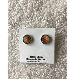 Unique Art Pendants Peony Underside Stud Earrings