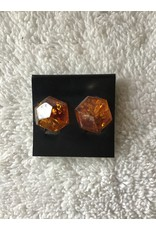 Flecked Amber Clip On Earrings