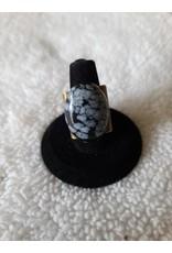 Angel Vaughan Brass Adjustable Snowflake Obsidian Ring