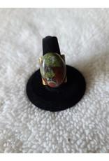 Angel Vaughan Brass Adjustable Bloodstone Ring
