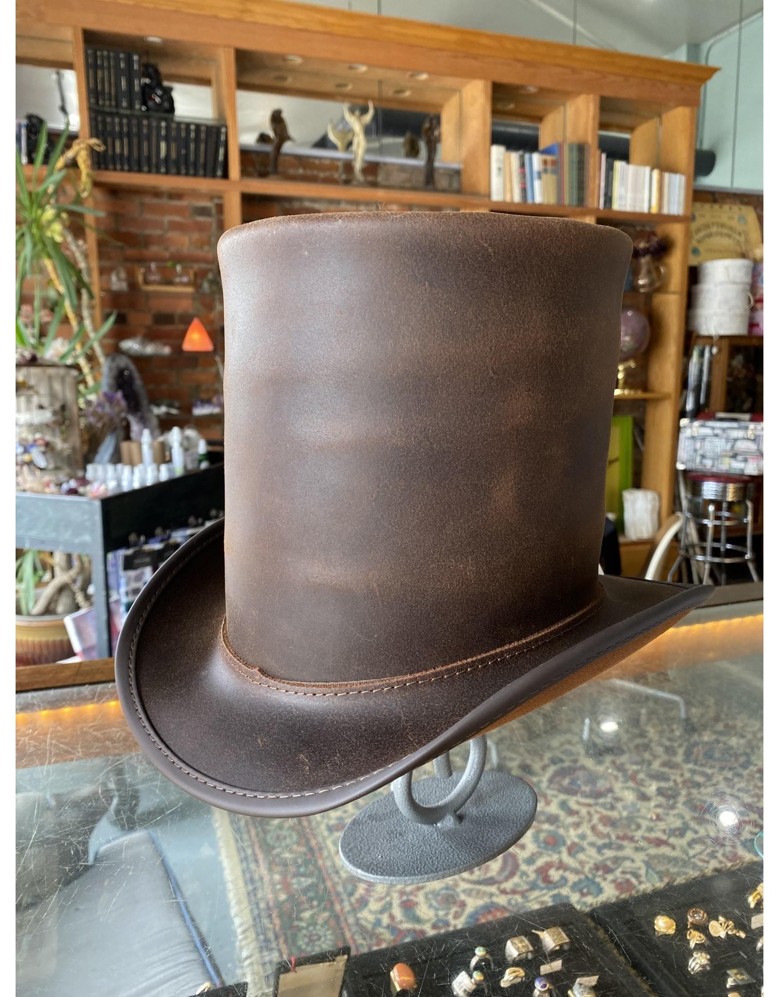 Stove Piper Hat Unbanded, Brown - Medium