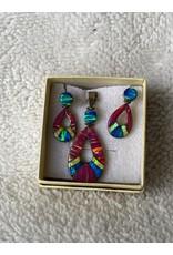 Pink, Blue & Yellow Opal Pendant & Earring Set