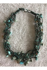 Chunky Stone Necklace   Turqouise & Brown