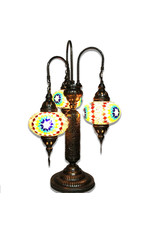 Turkish Mosaic Lamp | 3 Shade Lily | Red/Orange