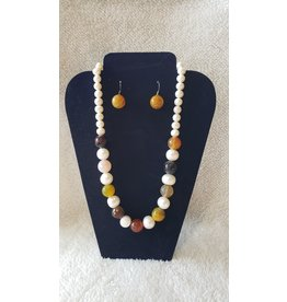 Assorted Stone & Pearl Necklace & earrings Set