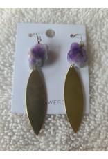 Dani Awesome Amethyst & Brass Drop Earrings